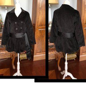 Justice Black Velvet Dressy lightweight Coat w/bow